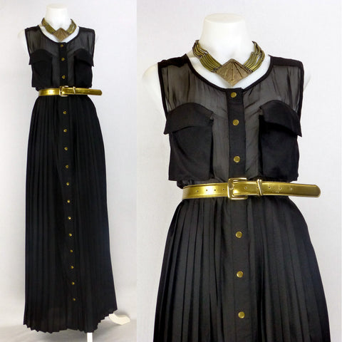 Shakuhachi Black Maxi Shirt Dress. Size 12