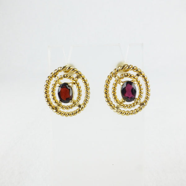 Gold-tone and Red Oval Earrings
