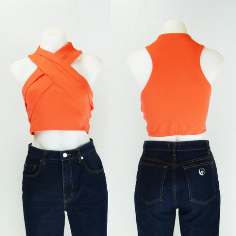 Kookai Orange Crossover Crop. Sz S