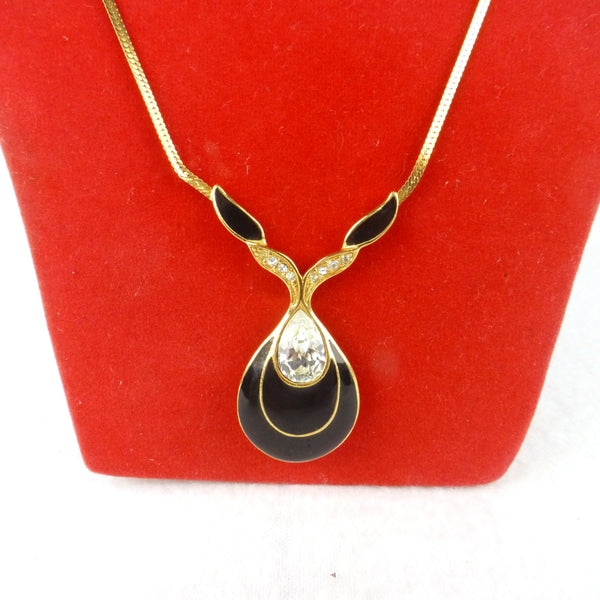 Trifari Black and Gold Diamanté Necklace