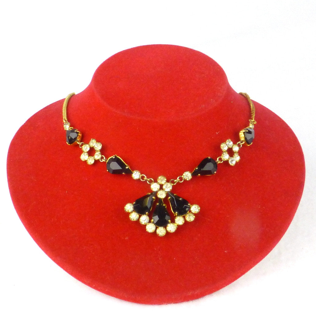 Diamanté Black and Gold Evening Necklace