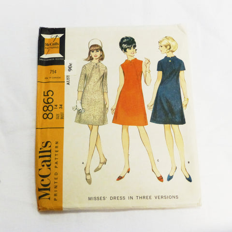McCalls 8865 1967 Sewing Pattern Misses Dress Sz S