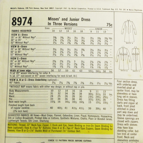 McCalls 8974 1967 Sewing Pattern Misses Dress Sz S