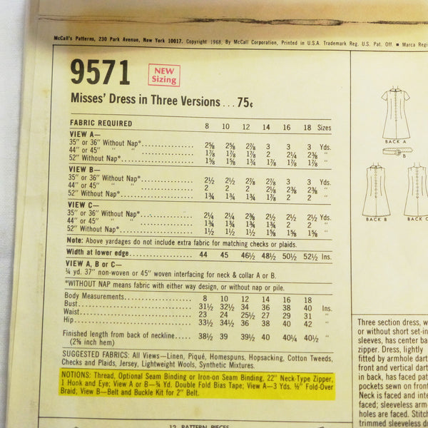 McCalls 9571 1968 Sewing Pattern Misses Dress Sz S