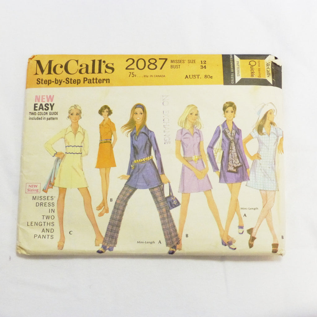 McCalls 2087 1969 Sewing Pattern Misses Dress and Pants  Sz S