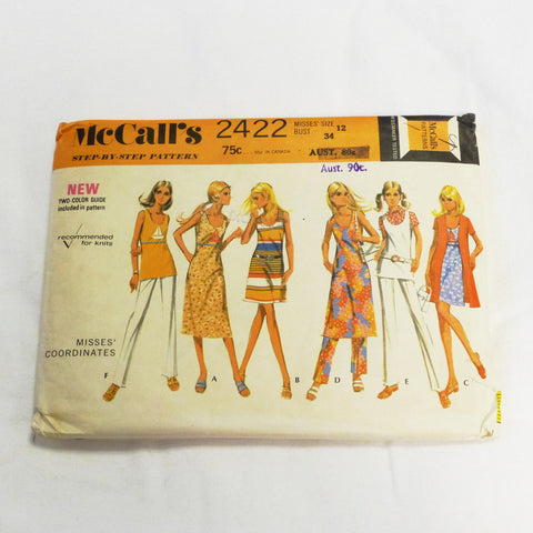 McCalls 2422 1970 Sewing Pattern Misses Coordinates  Sz S