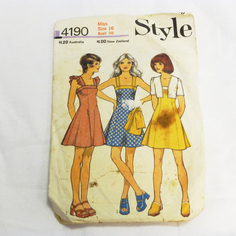 Style 4190 1973 Sewing Pattern Summer Dress Sz L