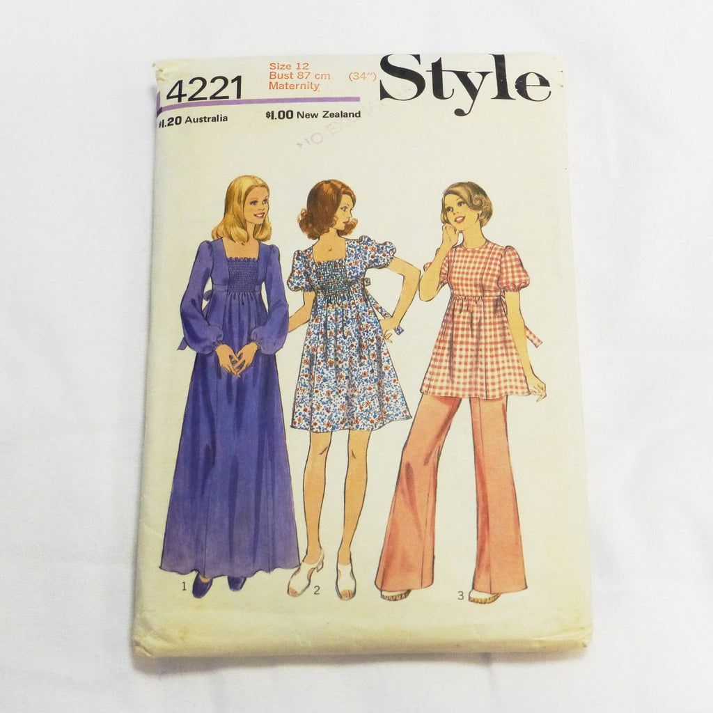 Style 4221 1974 Sewing Pattern Maternity coordinates  Sz S