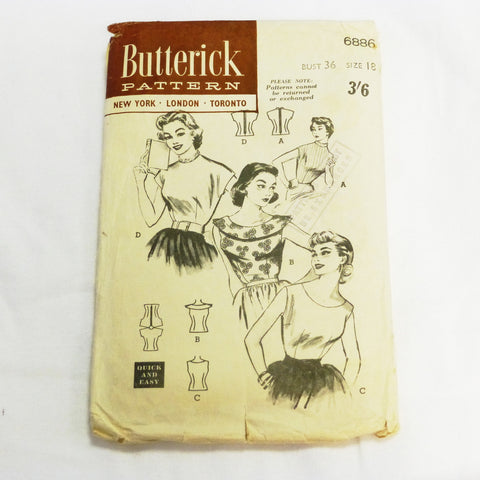 Butterick 6886 1945 Sewing Pattern Misses Blouse. Sz M/L
