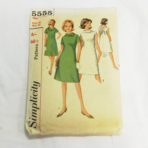 Simplicity 5555 1964 Sewing Pattern Misses Dress. Sz XS