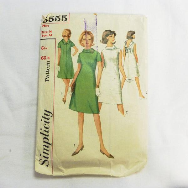Simplicity 5555 1964 Sewing Pattern Misses Dress. Sz S