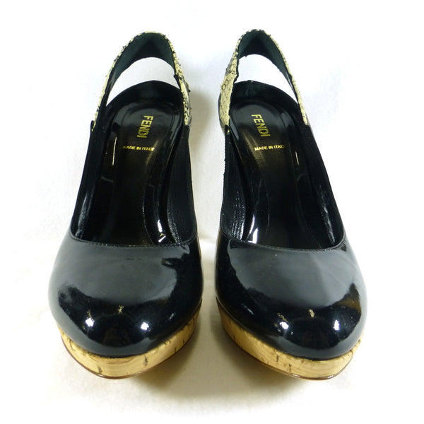Fendi Patent and Snake Sling Backs. Size 8.5