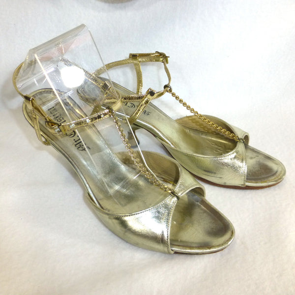 Gold Mr Christian Chain T-Bar Sandles. Size 7.5
