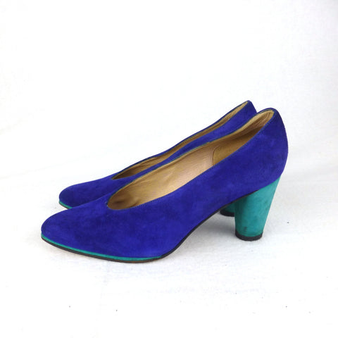 LineaVerde Colourblocked Suede Pumps. Size 5.5