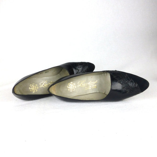 Lucalsax Black Pumps with Suede Toe. Size 6