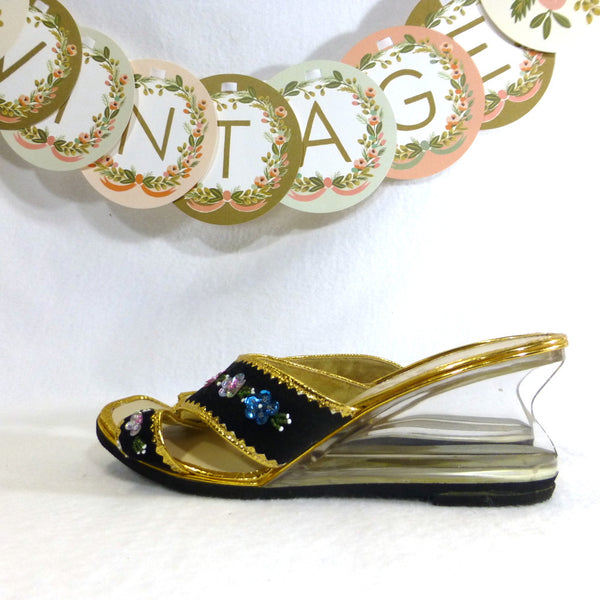 Jibson Beaded Lucite Wedges. Size 7