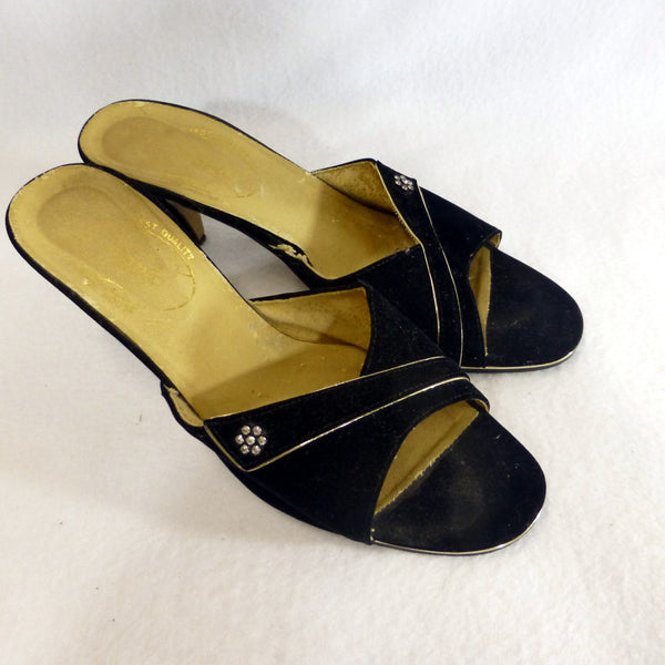 Black Velvet Mules with Diamonte Detail. Size 8