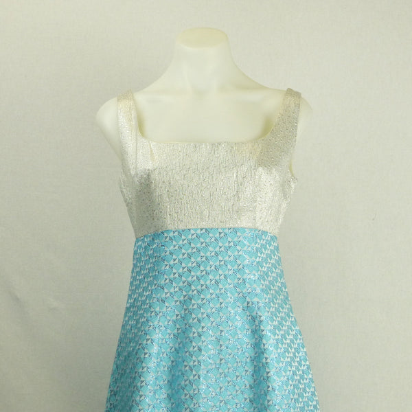 Blue and Silver Lurex Ballgown. Sz S