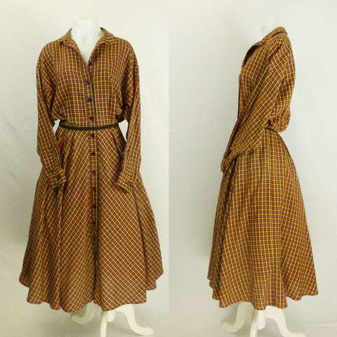Homemade Flannel Checked Shirtdress. Sz M/L