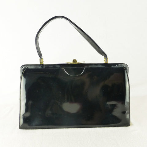 Goldex Patent Black Handbag