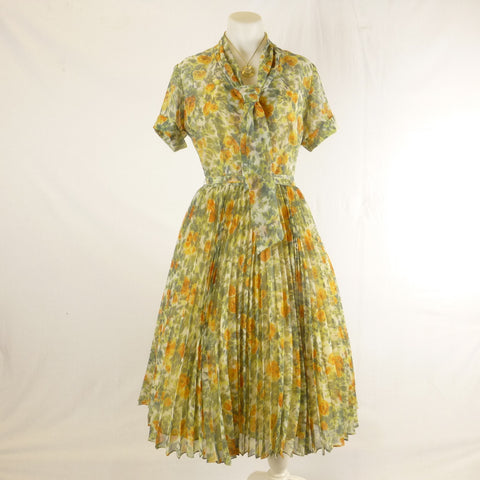 Green and Orange Chiffon Shirtdress. Sz M