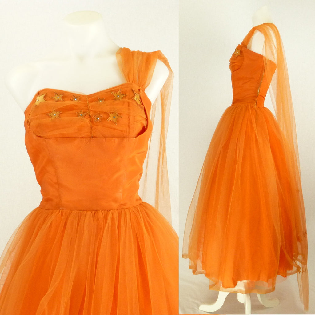 Orange Tulle Prom Dress with Stars. Sz S