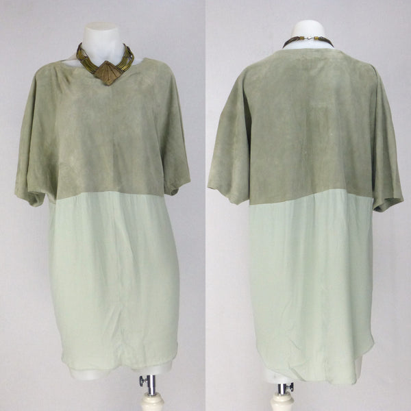 Shakuhachi Neutral Suede Tunic Dress. Size 12