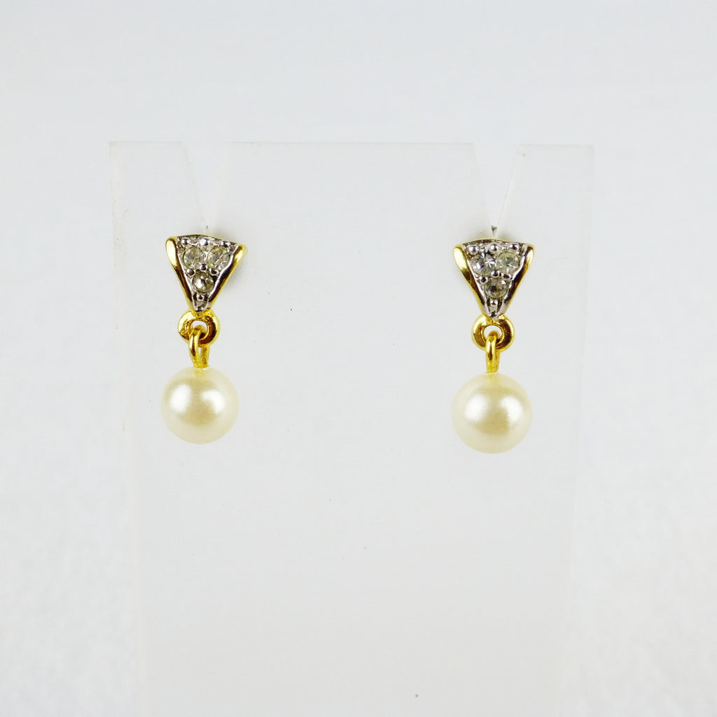 Gold-tone Faux Pearl Drop Earrings