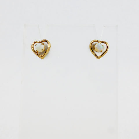 Opal Heart Shaped Stud Earrings