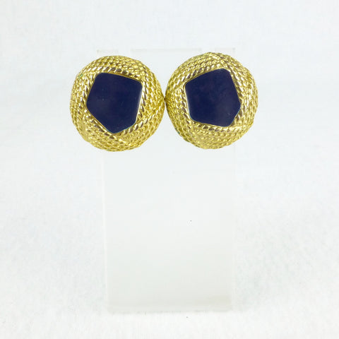 Navy Enamel Button Earrings