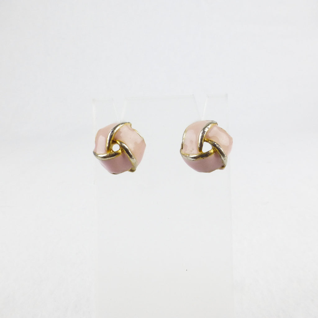 Pink Enamel Knot Earrings