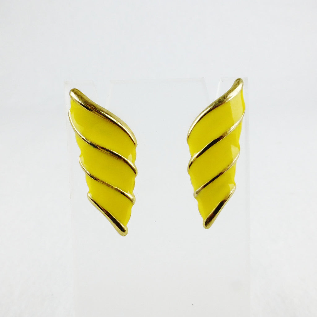Yellow Enamel Stroke Earrings