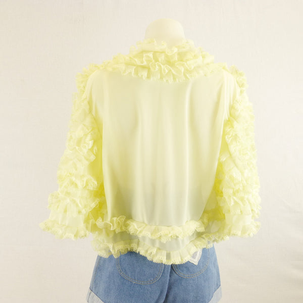 Yellow frilled Bed Jacket. Sz S