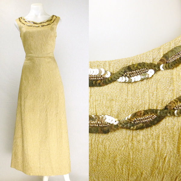 Gold Lurex Sequin Ball Gown. Sz M/L