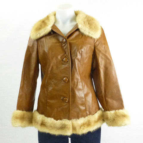 Tan Leather and Fur Jacket. sz S/M