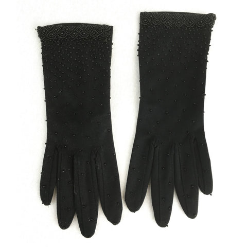 Black Nylon Evening Gloves with Beading. Sz 7