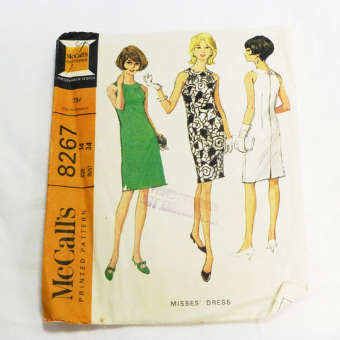 McCalls 8267 1966 Sewing Pattern Misses Dress Sz S