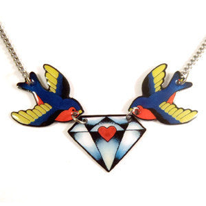 Swallow and Diamond Necklace