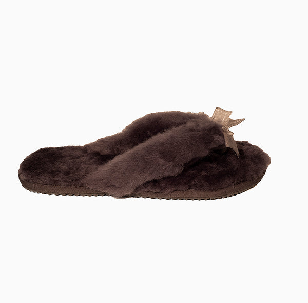 Front Bow UGG Slipper  Brown