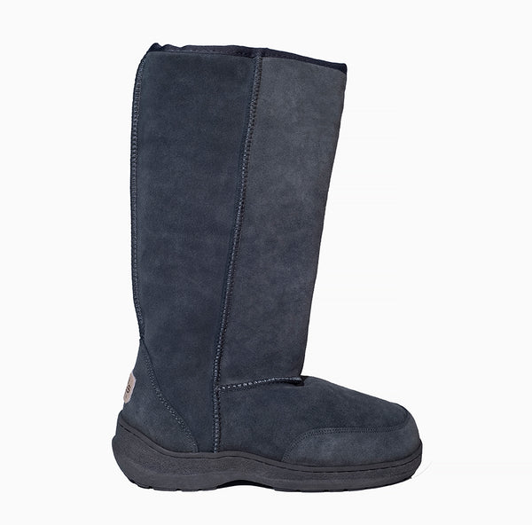 "Classic Tall 14"" UGG with side laces and stitched sole Grey"