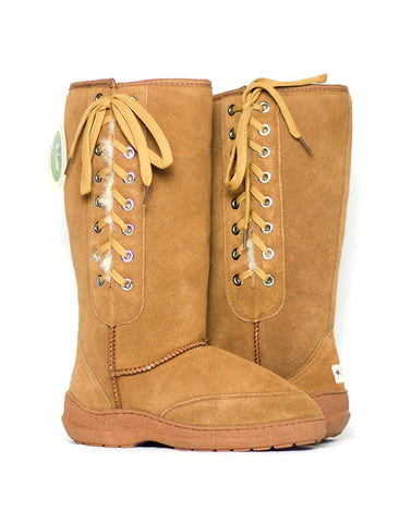 "Millers Classic Tall 14"" UGG with side laces and stitched sole Chestnut"