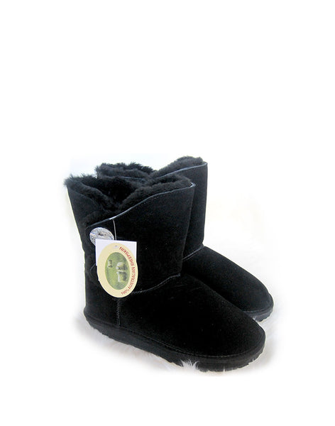 "Crystal 2 Glass Button 9"" Short UGG Black"
