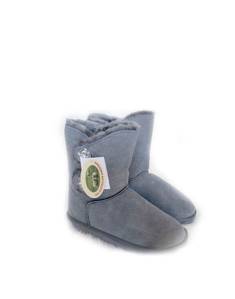 "Crystal 2 Glass Button 9"" Short UGG Grey"