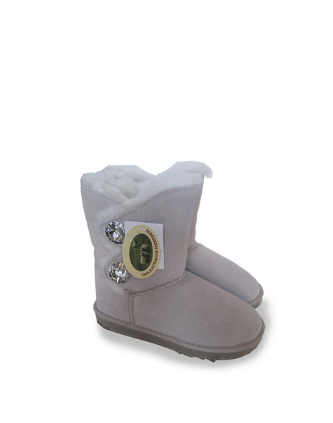 "Crystal 2 Glass Button 9"" Short UGG Sand"