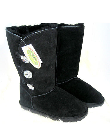 "3 Glass Button 14"" Tall UGG Black"