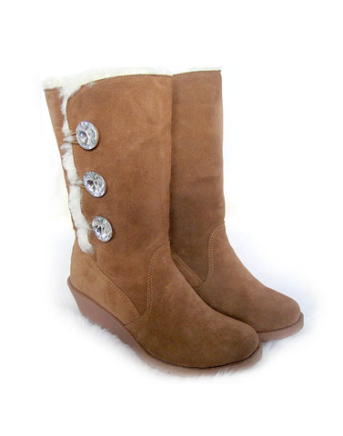"3 Glass Button Heeled 14"" Tall UGG Brown"