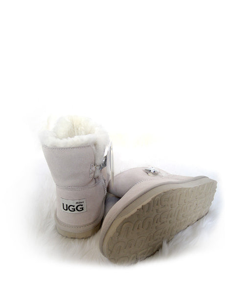 "Bailey 1 Glass Button 5"" Ultra Short UGG White"