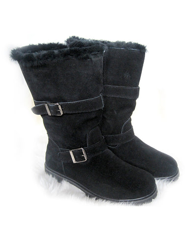 "Tall 2-Buckle Wraparound 14"" Tall UGG Black"