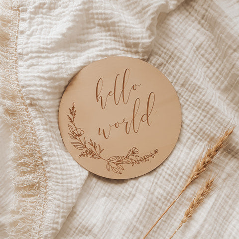 Almost Perfect 'Hello World' Etched Wooden Plaque - Floral - 15cm