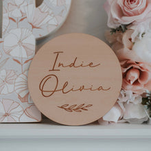 Load image into Gallery viewer, Custom Etched Wooden Name Plaque Blossom and Pear